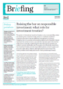 Raising the bar on responsible investment: what role for investment treaties?
