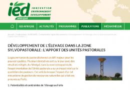 Développement de l'élevage dans la zone sylvopastorale: l'apport des Unités pastorales