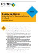 Legacy land issues  Addressing historical disputes in agribusiness investments