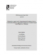 Filling the Legal Void? Experimental Evidence from a Community-Based Legal Aid Program for Gender-Equal Land Rights in Tanzania