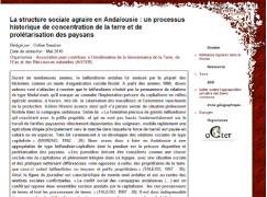 La structure sociale agraire en Andalousie : un processus historique de concentration de la terre et de prolétarisation des paysans