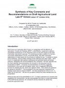 Synthesis of Key Comments and Recommendations on Draft Agricultural Land Law 6th Version