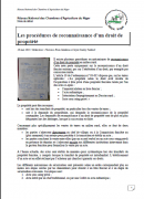 Note de débat sur les procédures de reconnaissance d'un droit de propriété au Niger (Réseau national des Chambres d'Agriculture du Niger)