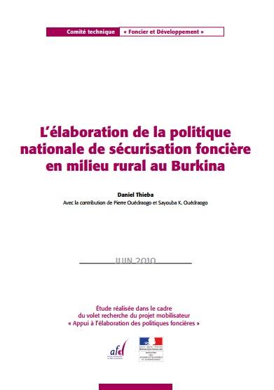 L'élaboration de la politique nationale de sécurisation foncière en milieu rural au Burkina