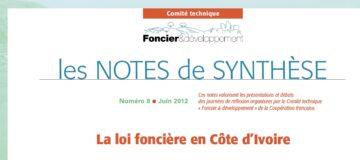 Note de synthèse n° 8 : la loi foncière en Côte d'Ivoire