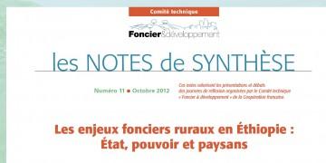 Note de synthèse n°11 : Les enjeux fonciers ruraux en Ethiopie, entre Etat, pouvoir et paysans