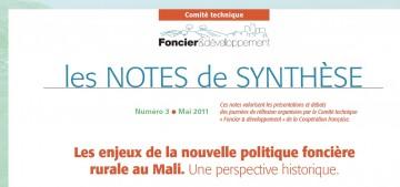Note de synthèse n° 3 : Les enjeux de la nouvelle politique foncière rurale au Mali.