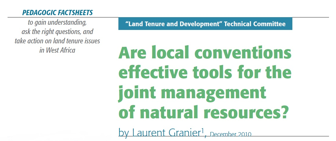 Are local conventions effective tools for the joint management of natural resources?
