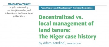 Decentralized vs. local management of land tenure: The Niger case history