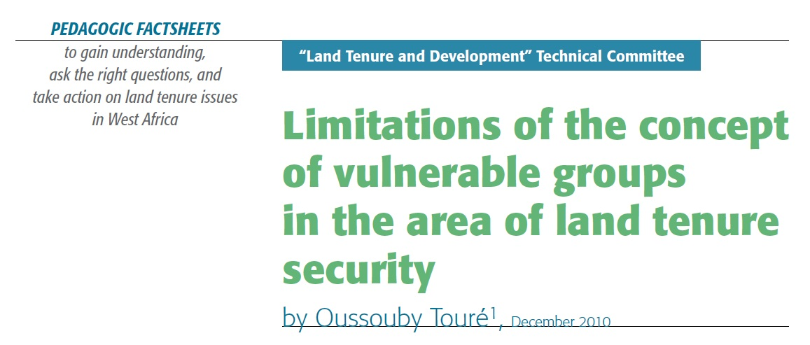 Limitations of the concept of vulnerable groups in the area of land tenure security