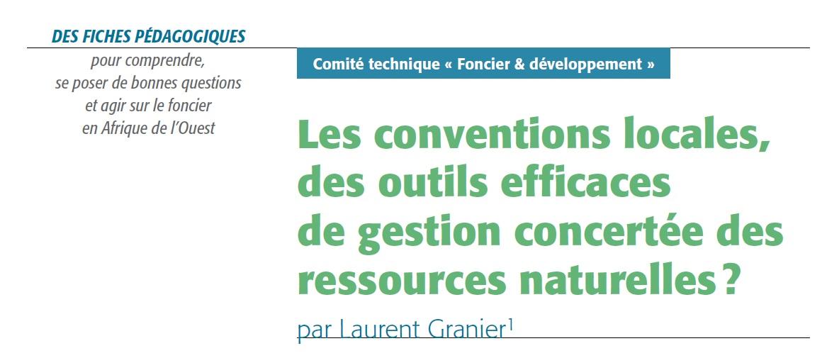 Les conventions locales, des outils efficaces de gestion concertée des ressources naturelles?