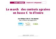 Le marché des contrats agraires en basse Côte d'Ivoire