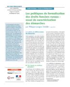 Les politiques de formalisation des droits fonciers ruraux : essai de caractérisation des démarches