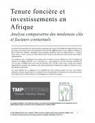 Tenure foncière et investissements en Afrique : Analyse comparative des tendances clés et facteurs contextuels