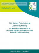 Civil Society Participation in Land Policy Making : the innovative experience of Myanmar's pre-consultation on the National Land Use Policy