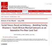 Social Tenure Based on Intimacy – Avoiding Family Disasters:  South African Marital Contracts as an Innovative Pro-Poor Land Tool