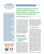 Analysing Agricultural Investment Projects that Affect Land and Property Rights : From International Principles to Operational Tools