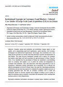 Institutional Synergies in Customary Land Markets : Selected Case Studies of Large-Scale Land Acquisitions in Ghana
