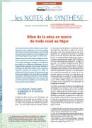 Note de synthèse n°16 : Bilan de la Mise en oeuvre du Code Rural au Niger