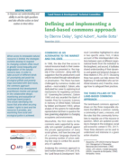 Briefing note : Defining and implementing a land-based common approach