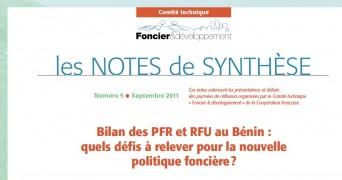 Note de synthèse n°5 : Bilan des PFR et RFU au Bénin, quels défis à relever pour la nouvelle politique foncière ?