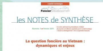 Note de synthèse n°1 : La question foncière au Vietnam, dynamique et enjeux