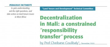 "Decentralization in Mali: a constrained ""responsibility transfer"" process"