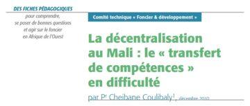 La décentralisation au Mali : le «transfert de compétences» en difficulté