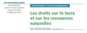Les droits sur la terre et les ressources naturelles